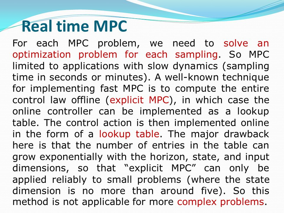 The new methods for fast MPC, develops by professor Boyd research group in Stanford university.