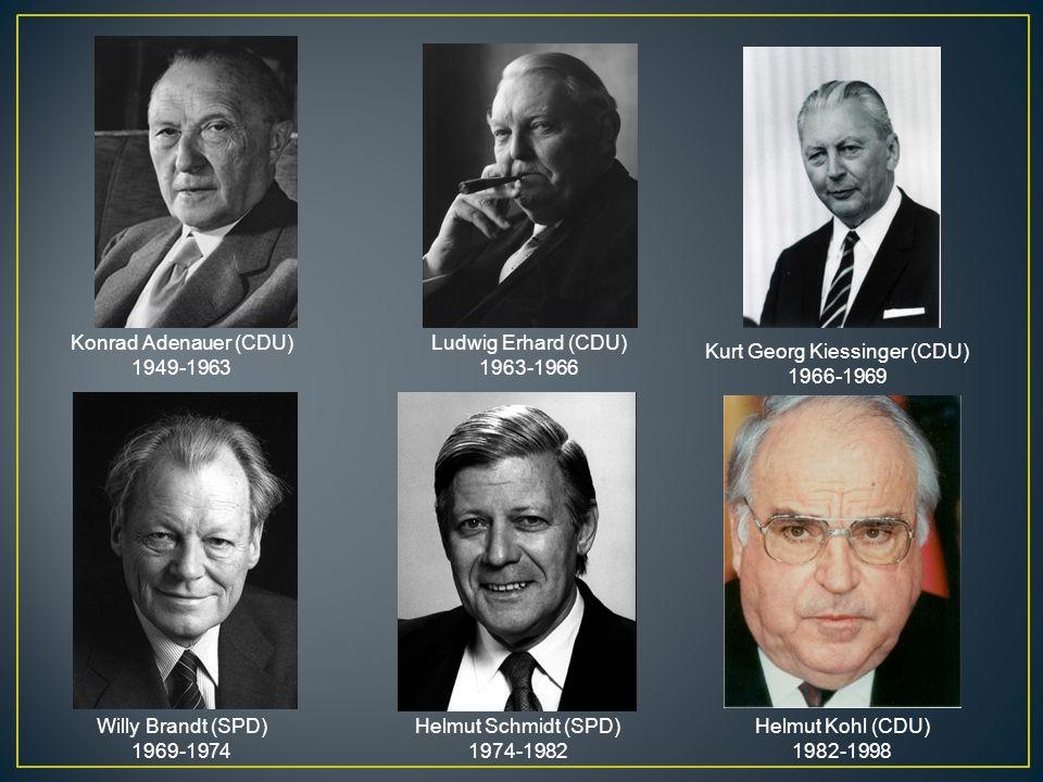 Konrad Adenauer (CDU) 1949-1963 Ludwig Erhard (CDU) 1963-1966 Kurt Georg Kiessinger (CDU) 1966-1969 Willy Brandt (SPD) 1969-1974 Helmut Schmidt (SPD)