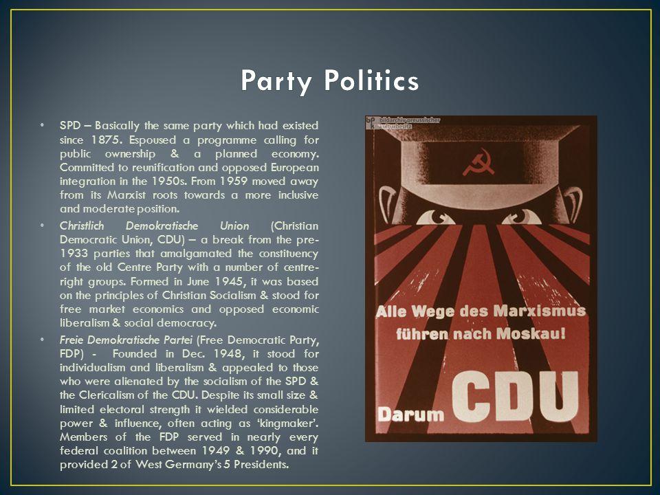 Party%deputies CDU/CSU31,0%139 SPD29,2%131 FDP11,9%52 KPD/DKP5,7%15 DRP1,8%5 DP4,0%17 BP4,2%17 Zentrum3,1%10 Sonstige9,1%16 Chancellor Konrad Adenauer, Economics Minister Ludwig Erhard and President TheodorHeuss, 1949