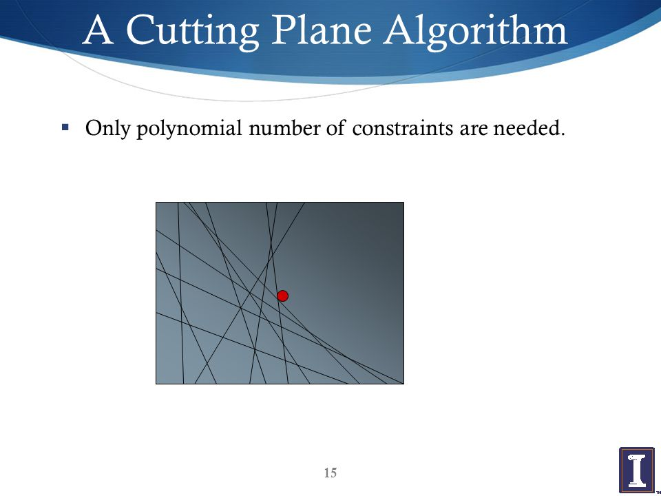 A Cutting Plane Algorithm  Only polynomial number of constraints are needed. 15