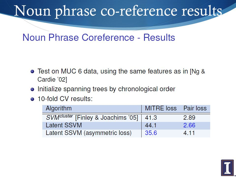 Noun phrase co-reference results