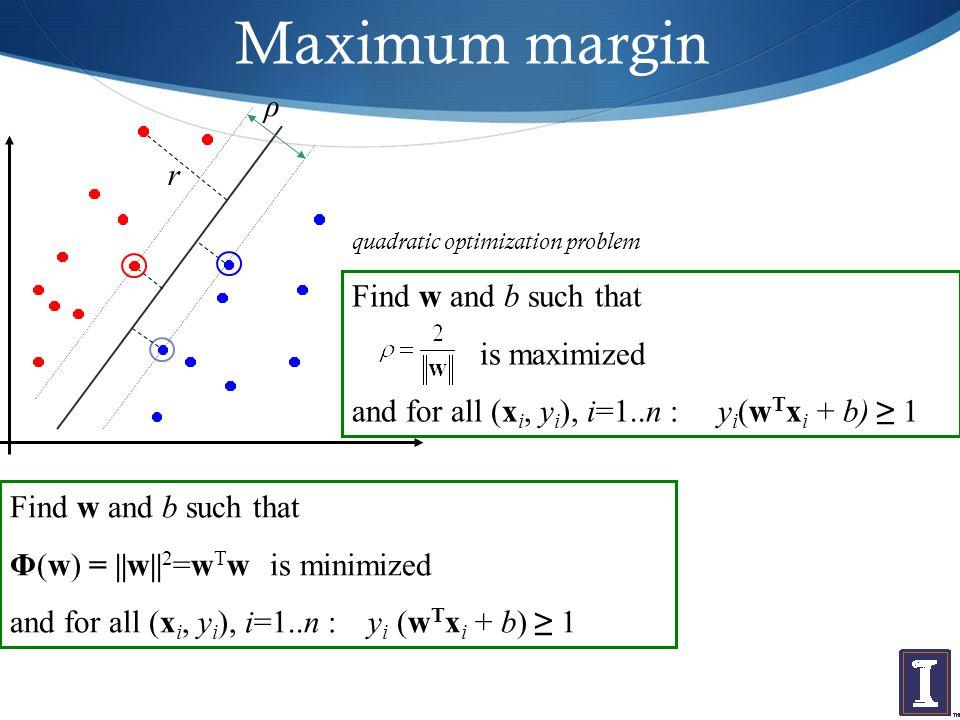 Maximum margin Find w and b such that is maximized and for all (x i, y i ), i=1..n : y i (w T x i + b) ≥ 1 Find w and b such that Φ(w) = ||w|| 2 =w T w is minimized and for all (x i, y i ), i=1..n : y i (w T x i + b) ≥ 1 quadratic optimization problem r ρ