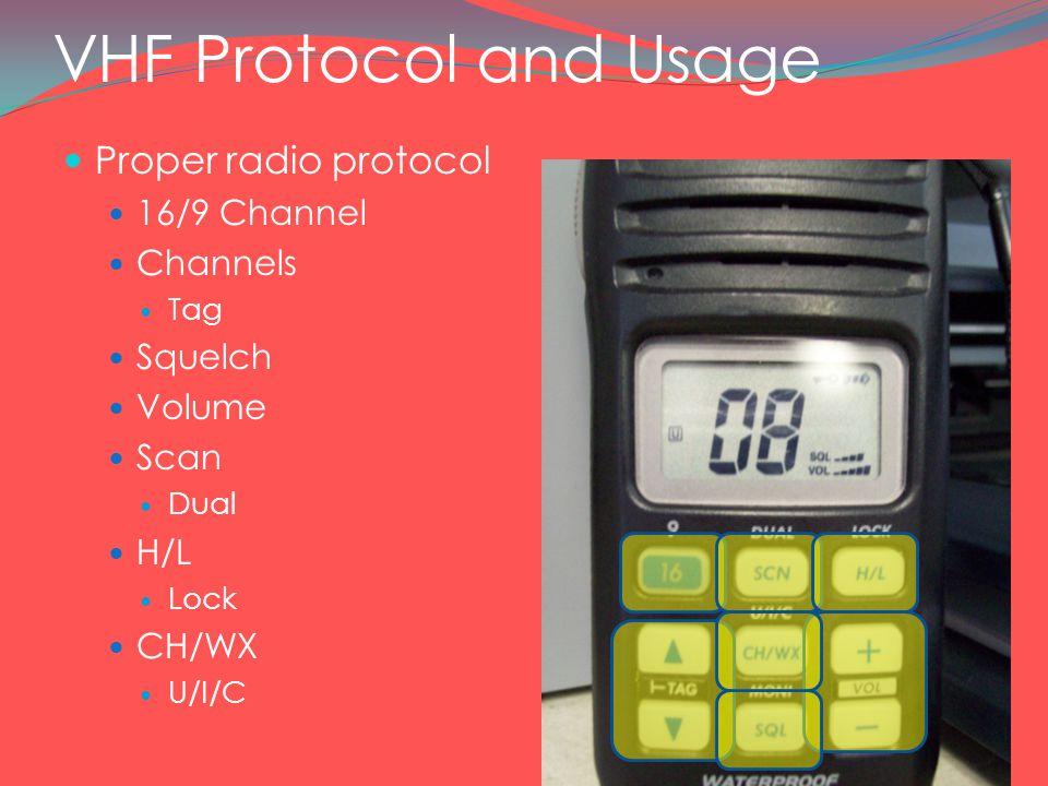 VHF Protocol and Usage Proper radio protocol 16/9 Channel Channels Tag Squelch Volume Scan Dual H/L Lock CH/WX U/I/C