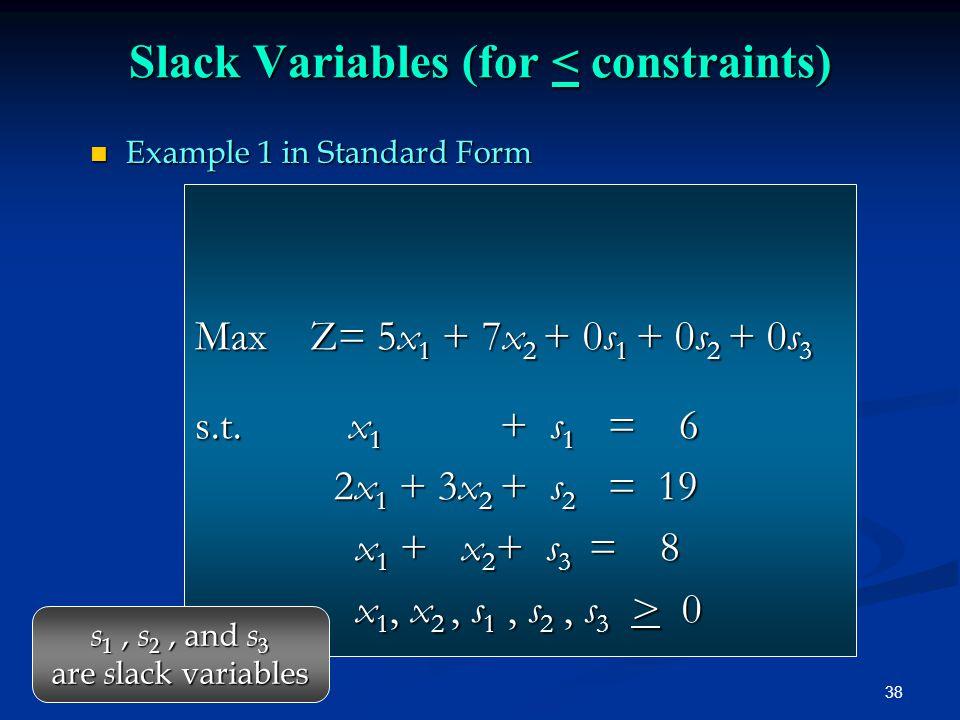 38 Max Z= 5x 1 + 7x 2 + 0s 1 + 0s 2 + 0s 3 s.t. x 1 + s 1 = 6 2x 1 + 3x 2 + s 2 = 19 2x 1 + 3x 2 + s 2 = 19 x 1 + x 2 + s 3 = 8 x 1 + x 2 + s 3 = 8 x