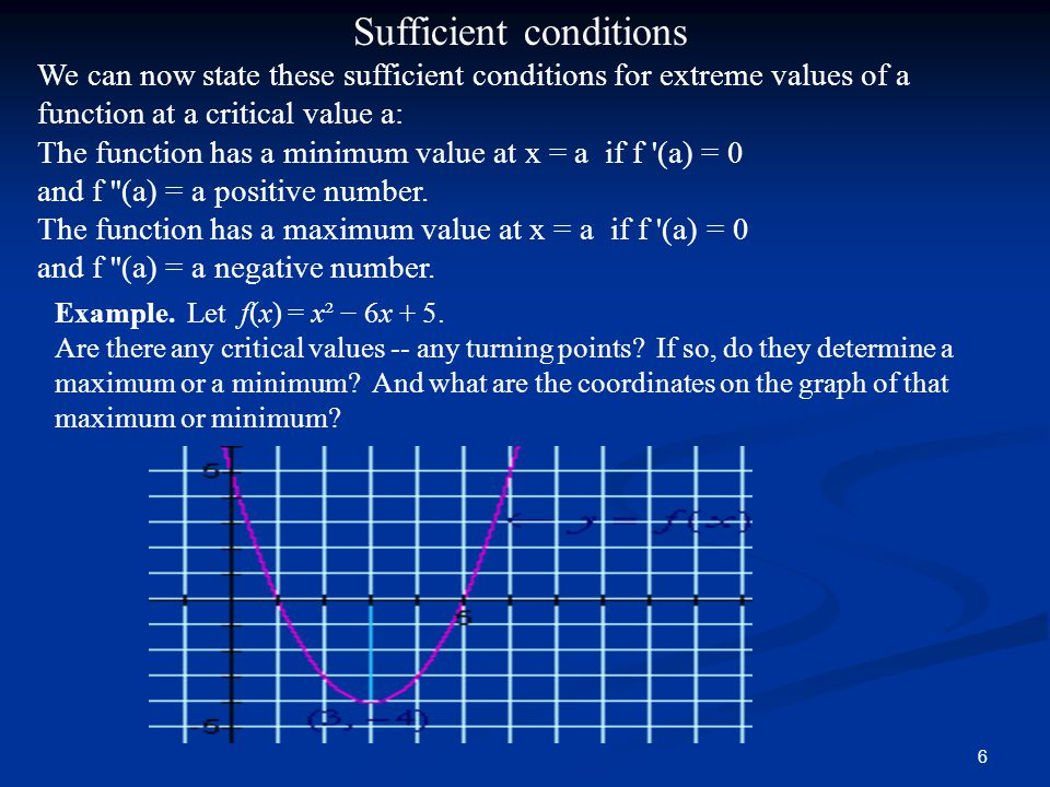 6 Sufficient conditions We can now state these sufficient conditions for extreme values of a function at a critical value a: The function has a minimum value at x = a if f (a) = 0 and f (a) = a positive number.
