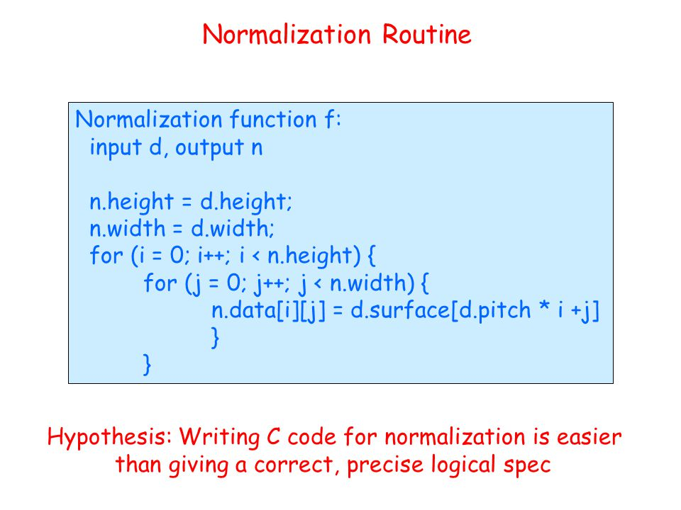 Normalization Routine Normalization function f: input d, output n n.height = d.height; n.width = d.width; for (i = 0; i++; i < n.height) { for (j = 0;