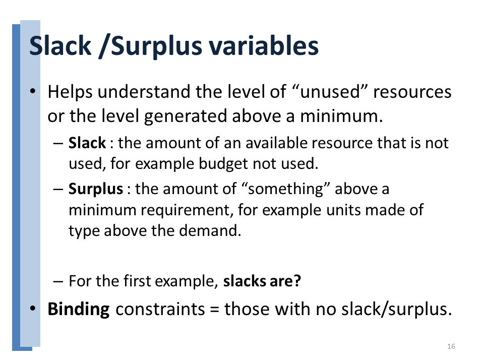 Slack /Surplus variables Helps understand the level of unused resources or the level generated above a minimum.