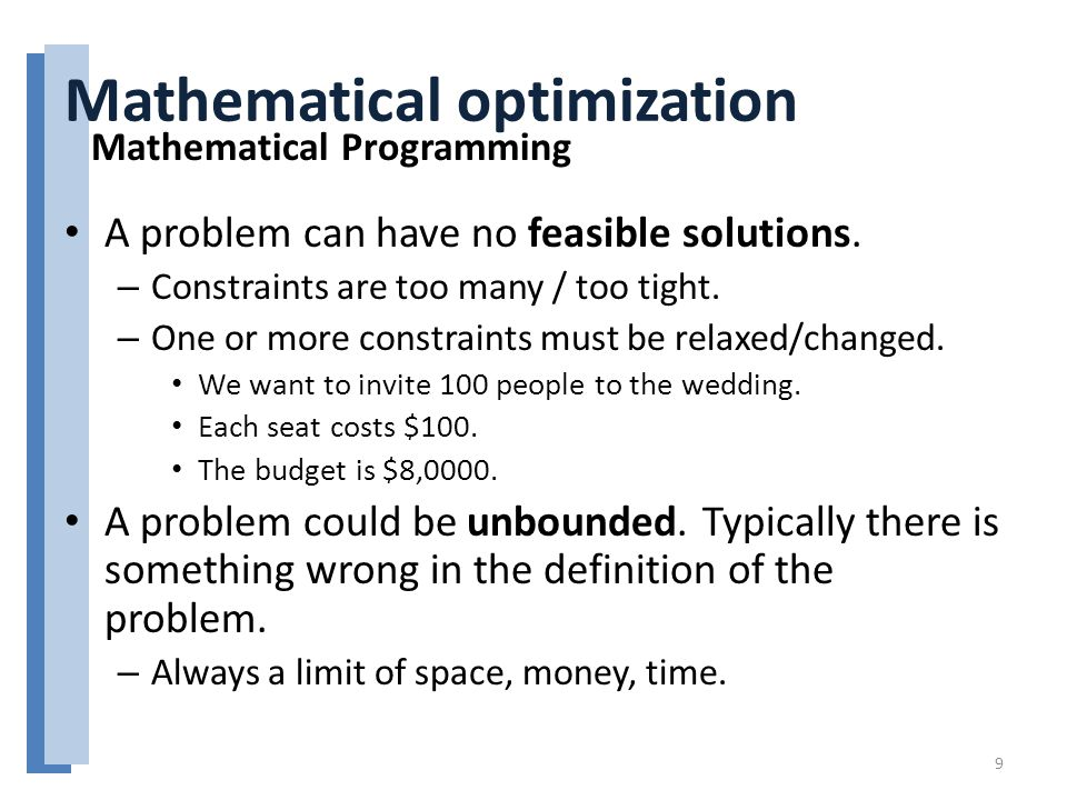 Mathematical optimization A problem can have no feasible solutions.