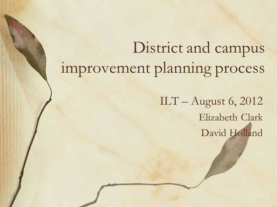 District and campus improvement planning process ILT – August 6, 2012 Elizabeth Clark David Holland