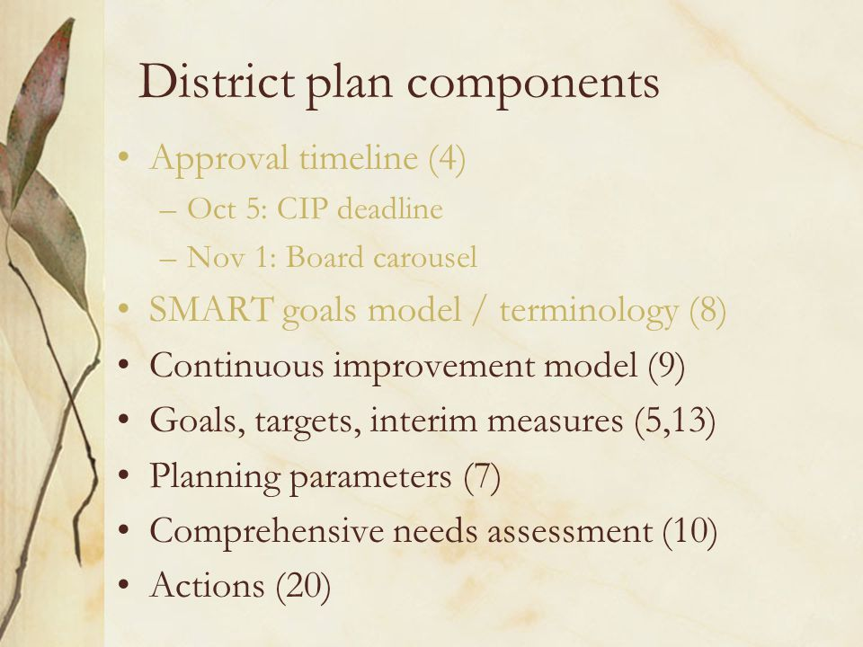 District plan components Approval timeline (4) –Oct 5: CIP deadline –Nov 1: Board carousel SMART goals model / terminology (8) Continuous improvement model (9) Goals, targets, interim measures (5,13) Planning parameters (7) Comprehensive needs assessment (10) Actions (20)
