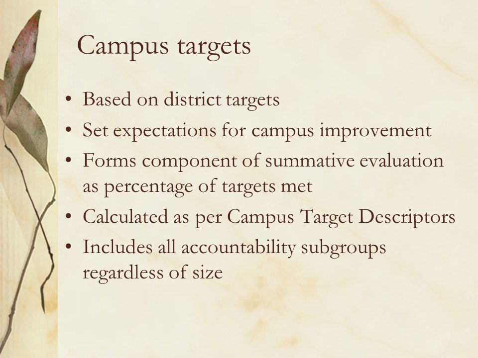 Campus targets Based on district targets Set expectations for campus improvement Forms component of summative evaluation as percentage of targets met Calculated as per Campus Target Descriptors Includes all accountability subgroups regardless of size
