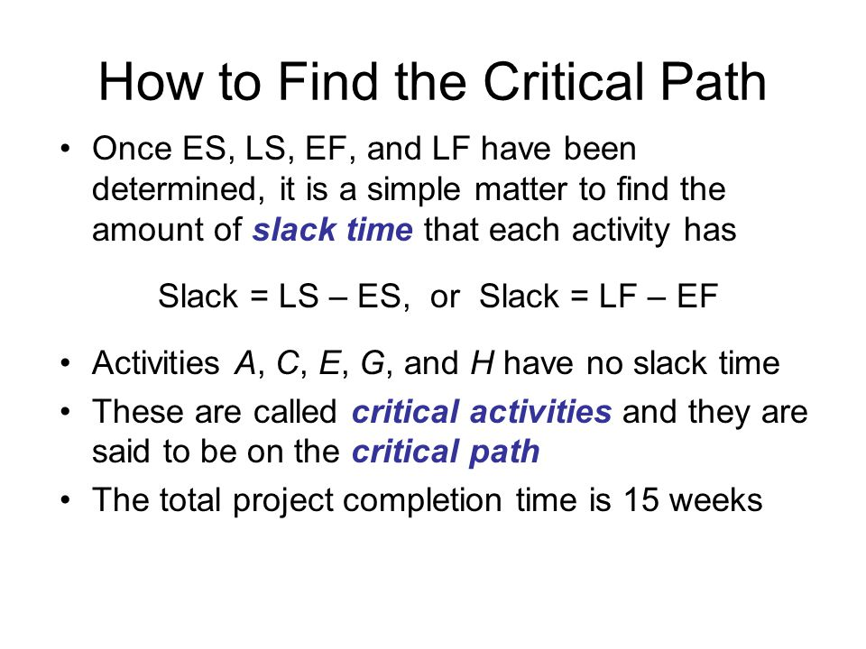 How to Find the Critical Path Once ES, LS, EF, and LF have been determined, it is a simple matter to find the amount of slack time that each activity has Slack = LS – ES, or Slack = LF – EF Activities A, C, E, G, and H have no slack time These are called critical activities and they are said to be on the critical path The total project completion time is 15 weeks