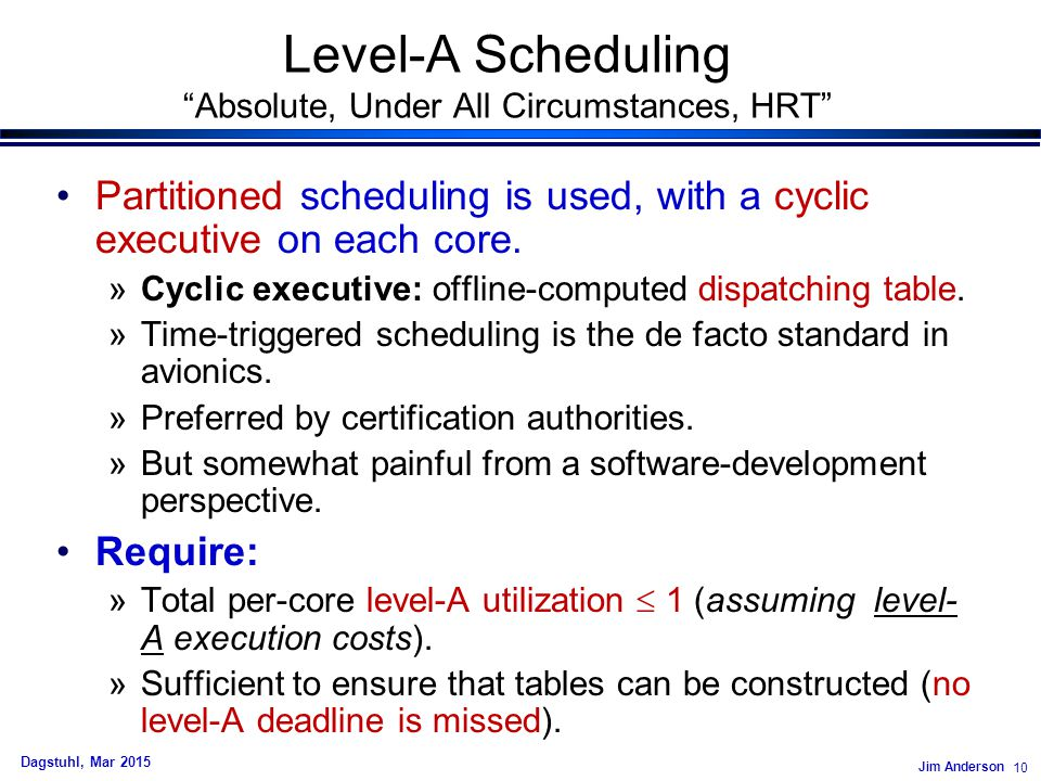 Jim Anderson 10 Dagstuhl, Mar 2015 Level-A Scheduling Absolute, Under All Circumstances, HRT Partitioned scheduling is used, with a cyclic executive on each core.