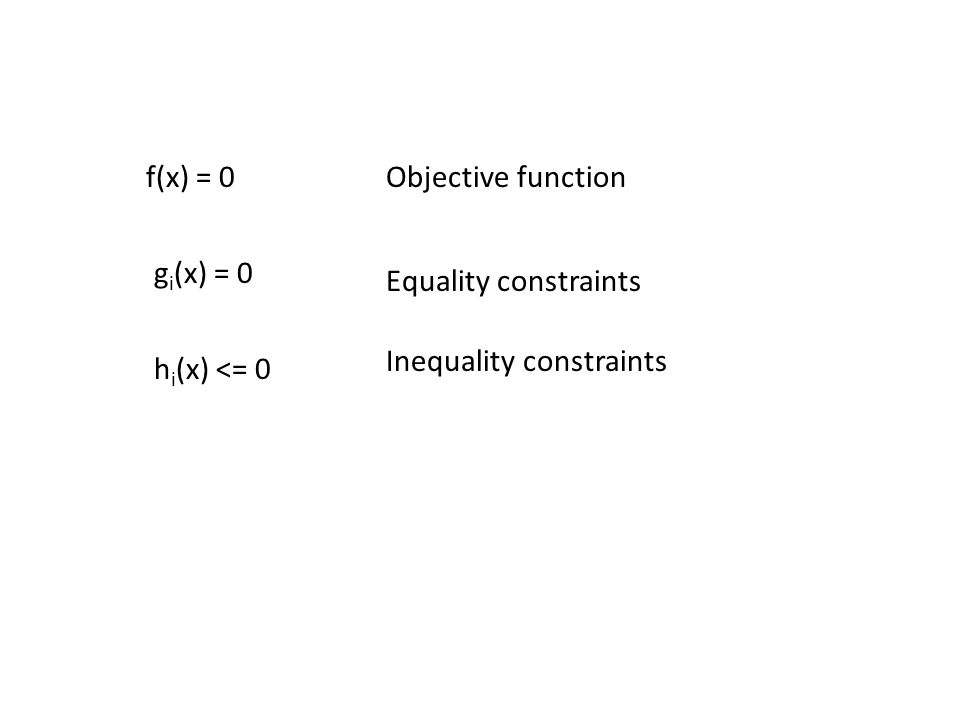 f(x) = 0 g i (x) = 0 h i (x) <= 0 Objective function Equality constraints Inequality constraints