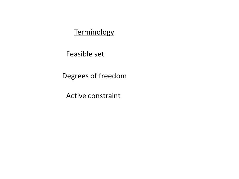 Terminology Feasible set Degrees of freedom Active constraint
