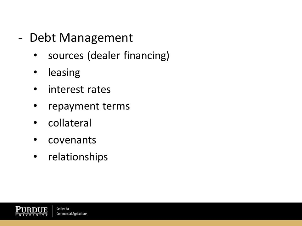 -Debt Management sources (dealer financing) leasing interest rates repayment terms collateral covenants relationships