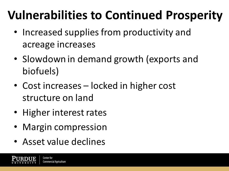 Vulnerabilities to Continued Prosperity Increased supplies from productivity and acreage increases Slowdown in demand growth (exports and biofuels) Cost increases – locked in higher cost structure on land Higher interest rates Margin compression Asset value declines
