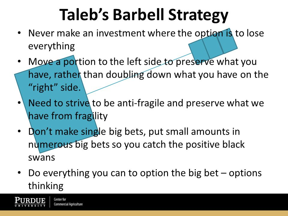Taleb's Barbell Strategy Never make an investment where the option is to lose everything Move a portion to the left side to preserve what you have, rather than doubling down what you have on the right side.