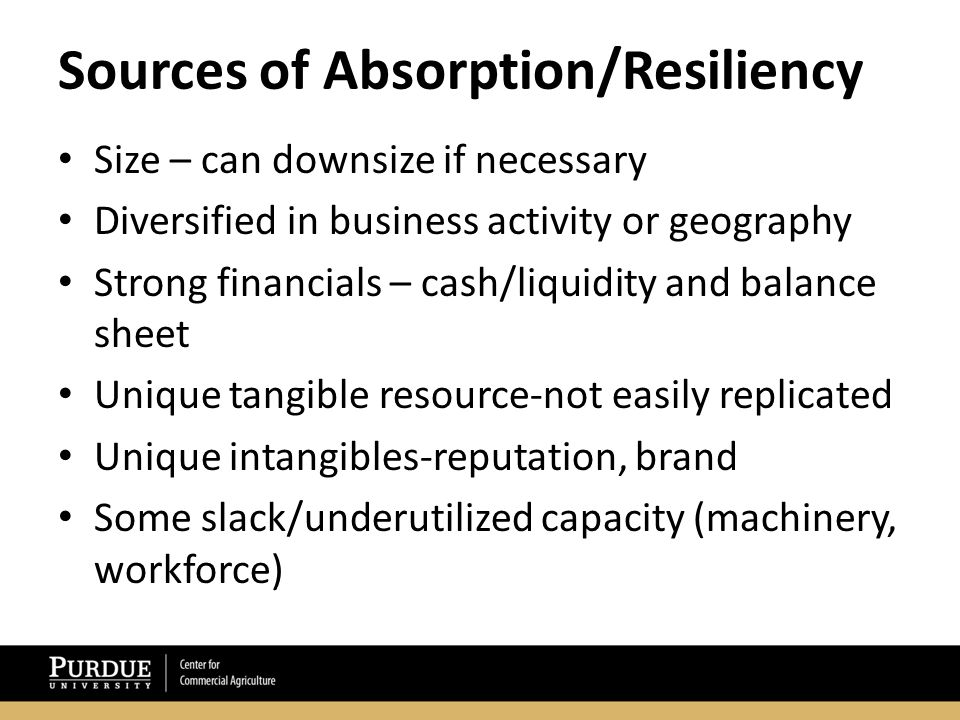 Sources of Absorption/Resiliency (con't.) Powerful partners (buyers, suppliers, lenders, landlords) who need us/want us to succeed Customers who can't easily replace us Buffered from competition-surrounded by a moot Low fixed costs-can better weather the storm