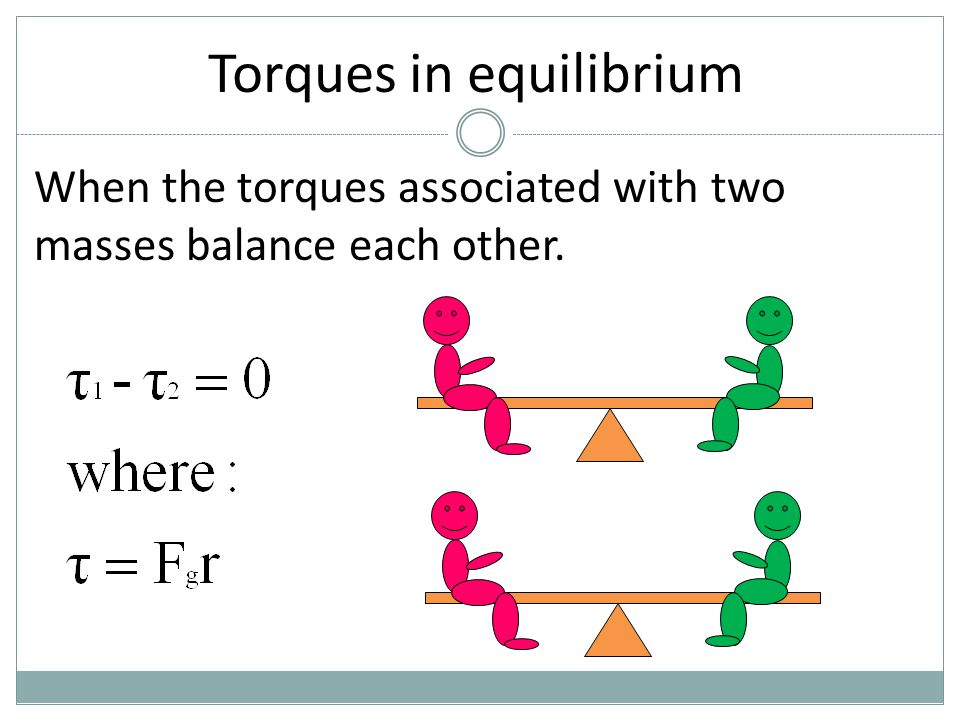 Torques in equilibrium When the torques associated with two masses balance each other.
