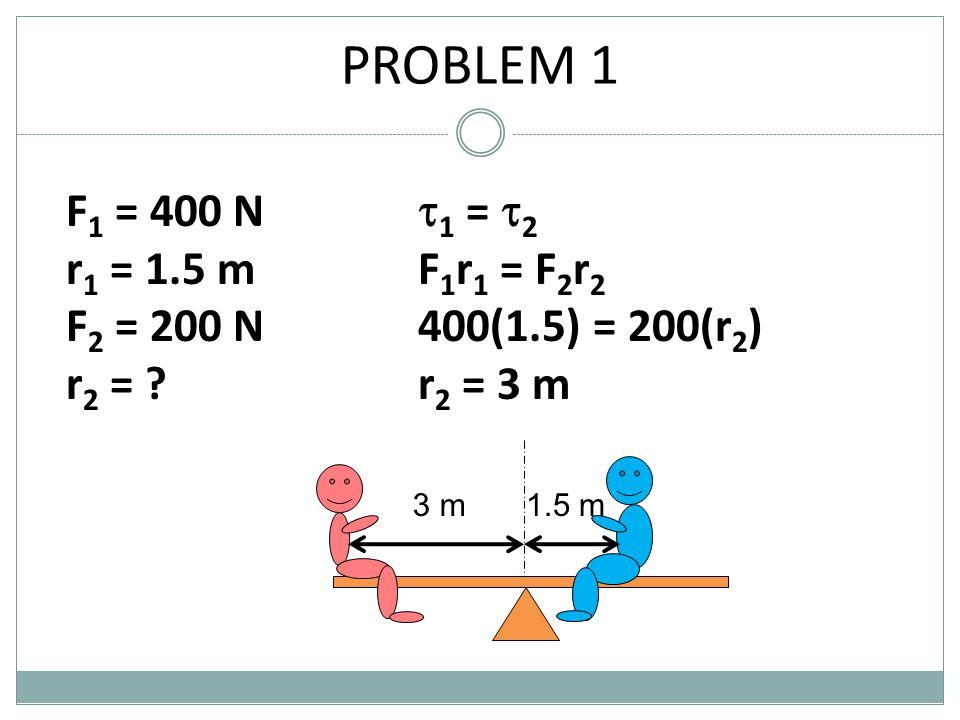 PROBLEM 1 F 1 = 400 N r 1 = 1.5 m F 2 = 200 N r 2 = ?  1 =  2 F 1 r 1 = F 2 r 2 400(1.5) = 200(r 2 ) r 2 = 3 m 1.5 m3 m