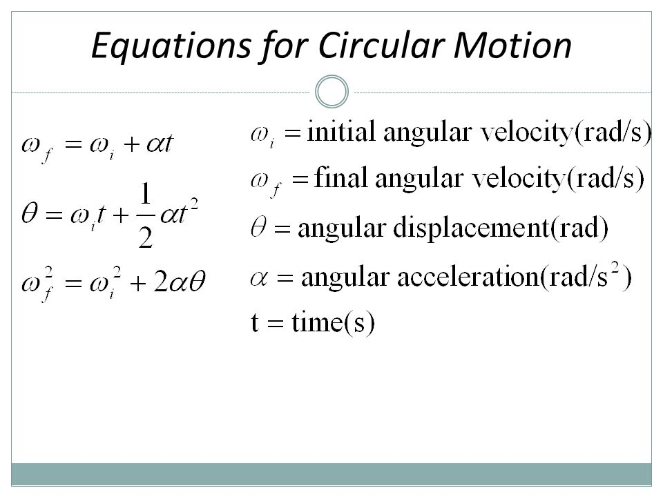 Equations for Circular Motion