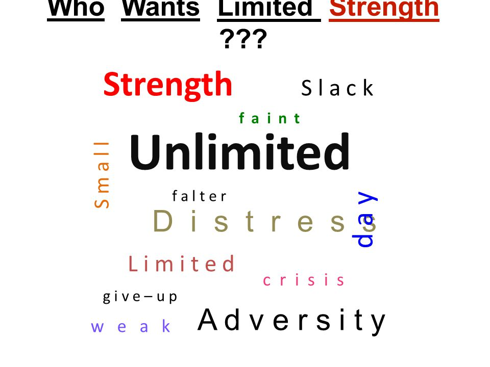 Prov.24:10 If you are slack in the day of distress, your strength is limited.