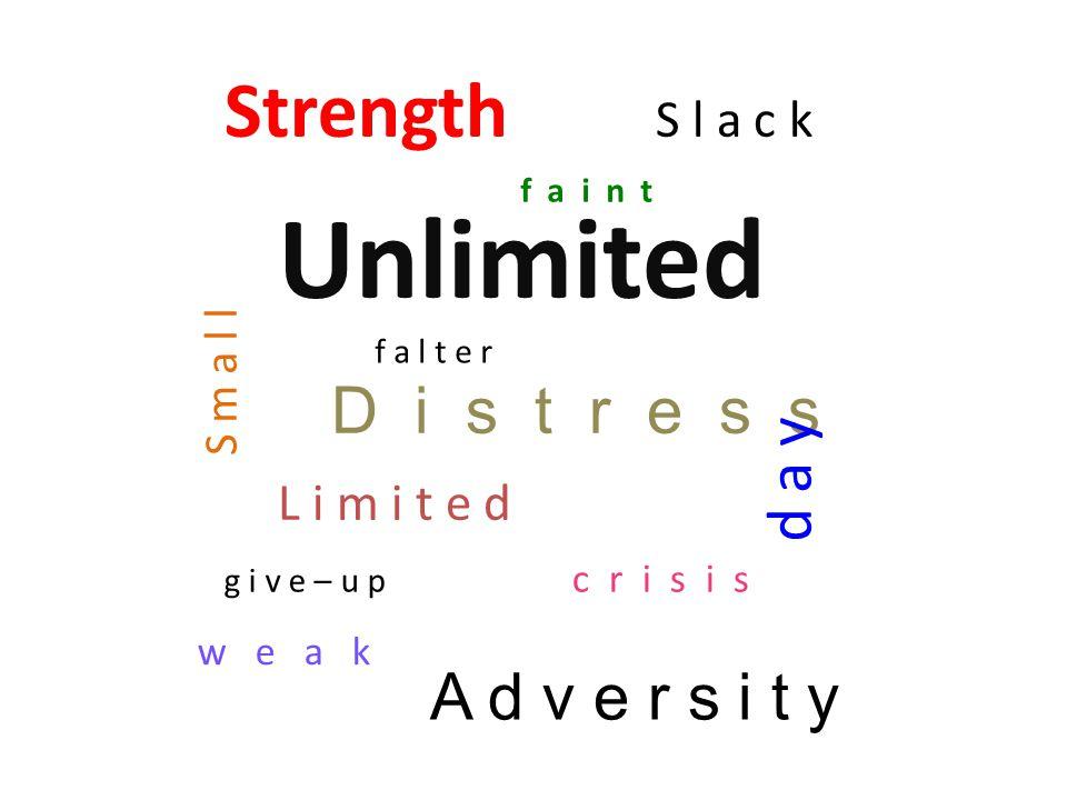Strength S l a c k Unlimited D i s t r e s s L i m i t e d S m a l l A d v e r s i t y d a y f a i n t c r i s i s w e a k f a l t e r g i v e – u p