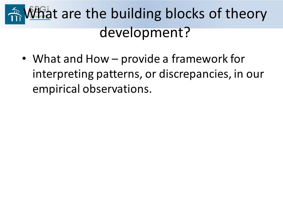 What are the building blocks of theory development.