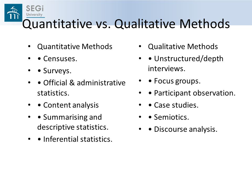 Quantitative vs.Qualitative Methods Quantitative Methods Censuses.