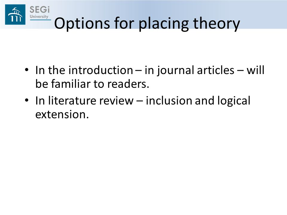 Options for placing theory In the introduction – in journal articles – will be familiar to readers.