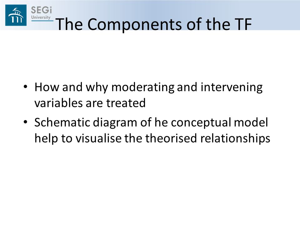 The Components of the TF How and why moderating and intervening variables are treated Schematic diagram of he conceptual model help to visualise the theorised relationships