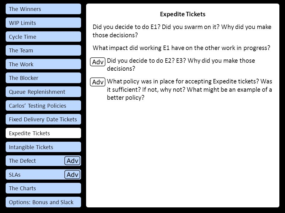 Expedite Tickets Did you decide to do E1.Did you swarm on it.