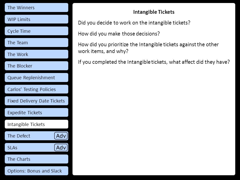 Intangible Tickets Did you decide to work on the intangible tickets.