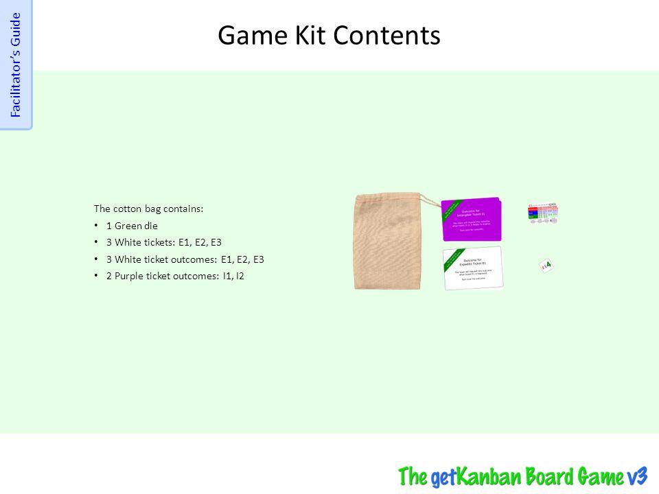 Game Kit Contents The cotton bag contains: 1 Green die 3 White tickets: E1, E2, E3 3 White ticket outcomes: E1, E2, E3 2 Purple ticket outcomes: I1, I2 Facilitator's Guide