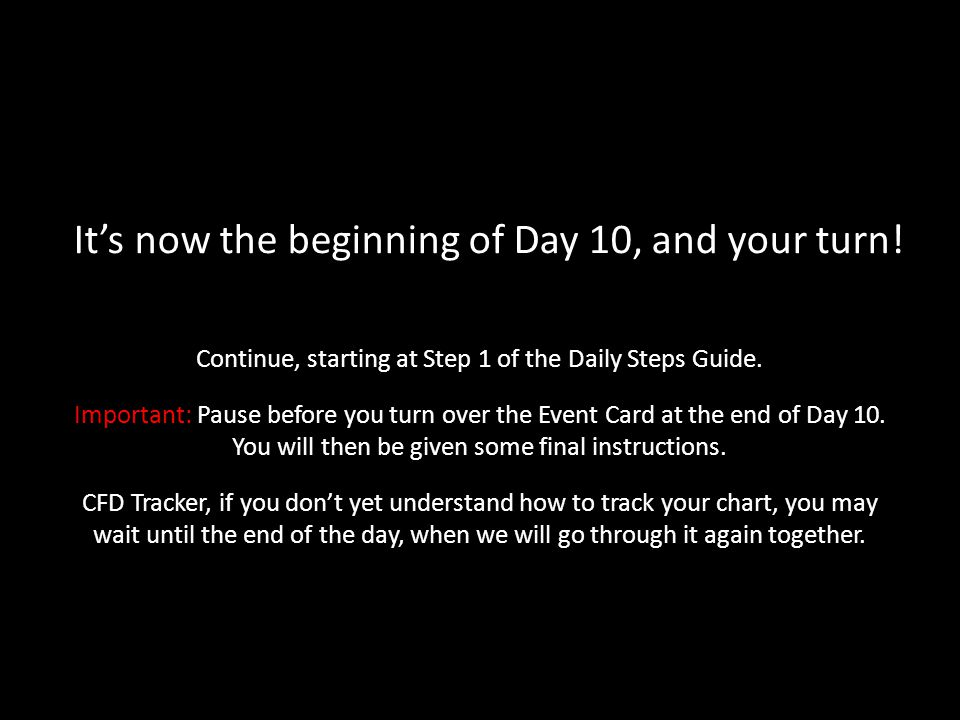 It's now the beginning of Day 10, and your turn.