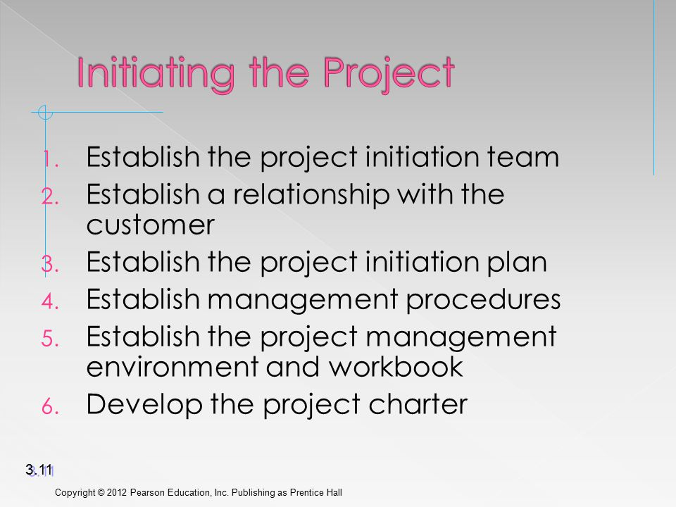 1. Establish the project initiation team 2. Establish a relationship with the customer 3.