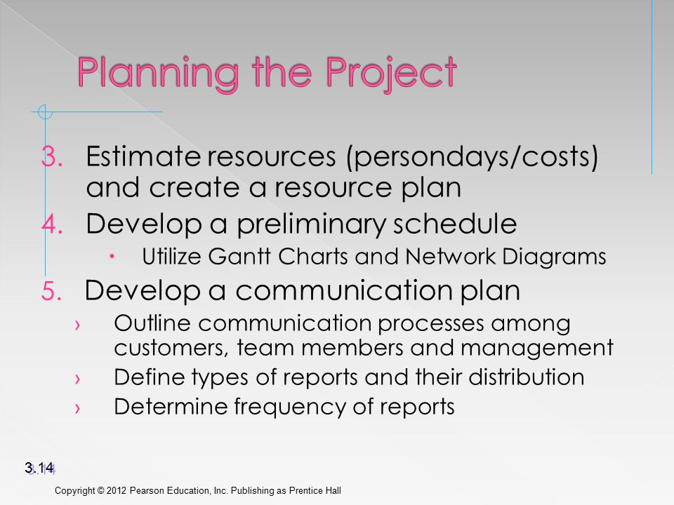 3.Estimate resources (persondays/costs) and create a resource plan 4.Develop a preliminary schedule  Utilize Gantt Charts and Network Diagrams 5. Dev