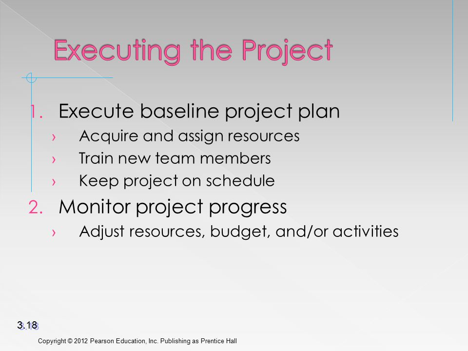 1. Execute baseline project plan › Acquire and assign resources › Train new team members › Keep project on schedule 2. Monitor project progress › Adju