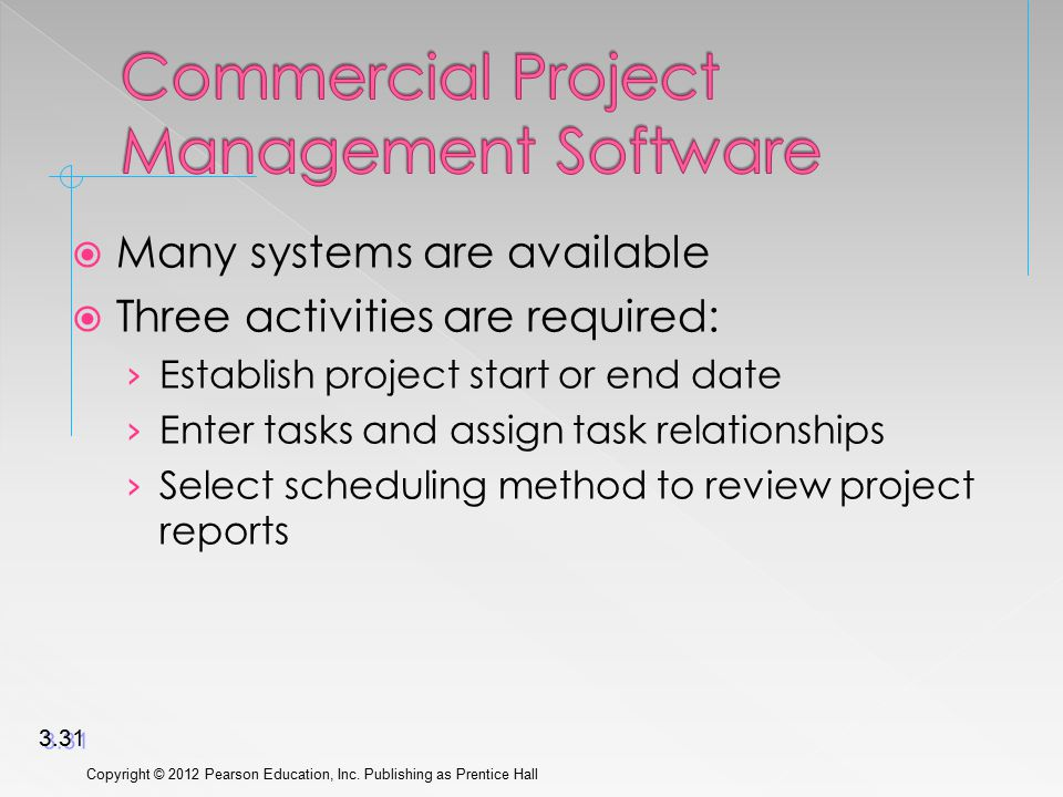  Many systems are available  Three activities are required: › Establish project start or end date › Enter tasks and assign task relationships › Select scheduling method to review project reports Copyright © 2012 Pearson Education, Inc.