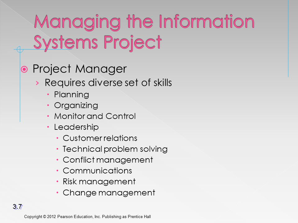 Project Manager › Requires diverse set of skills  Planning  Organizing  Monitor and Control  Leadership  Customer relations  Technical problem solving  Conflict management  Communications  Risk management  Change management Copyright © 2012 Pearson Education, Inc.