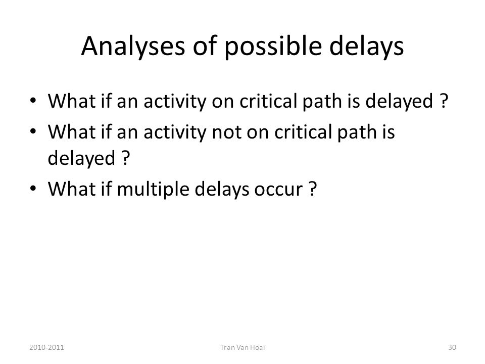 Analyses of possible delays What if an activity on critical path is delayed .