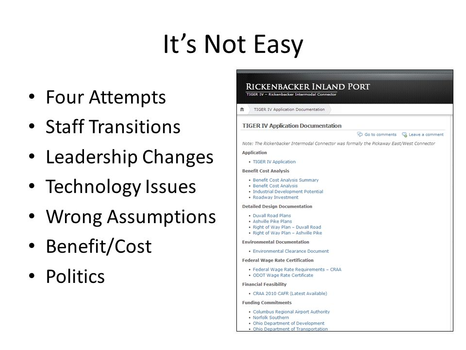 It's Not Easy Four Attempts Staff Transitions Leadership Changes Technology Issues Wrong Assumptions Benefit/Cost Politics