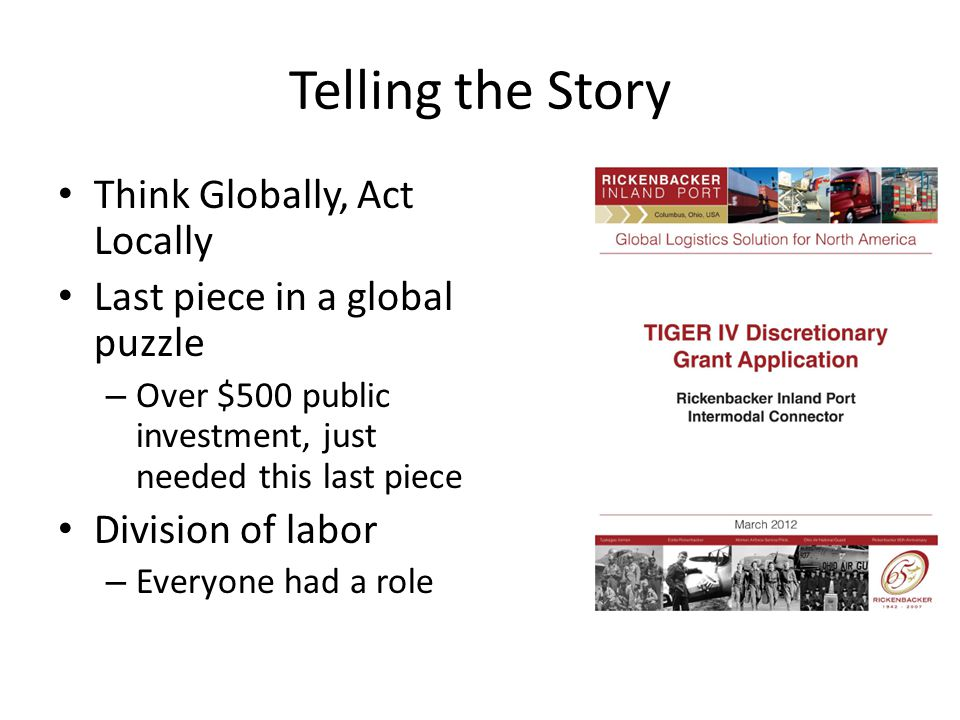 Telling the Story Think Globally, Act Locally Last piece in a global puzzle – Over $500 public investment, just needed this last piece Division of labor – Everyone had a role