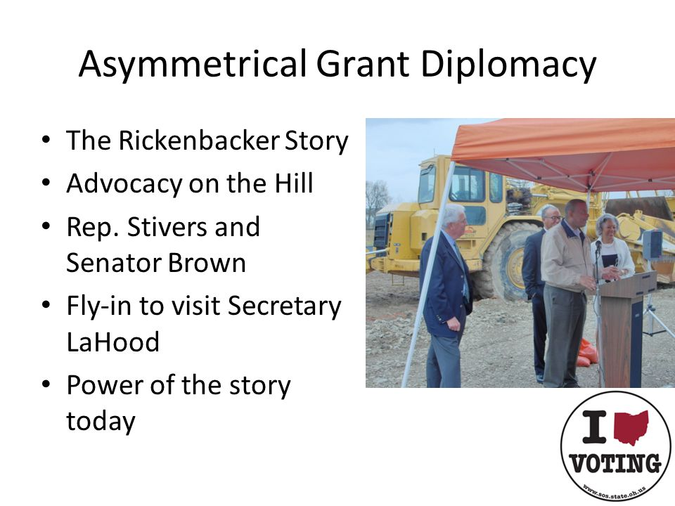 Asymmetrical Grant Diplomacy The Rickenbacker Story Advocacy on the Hill Rep.