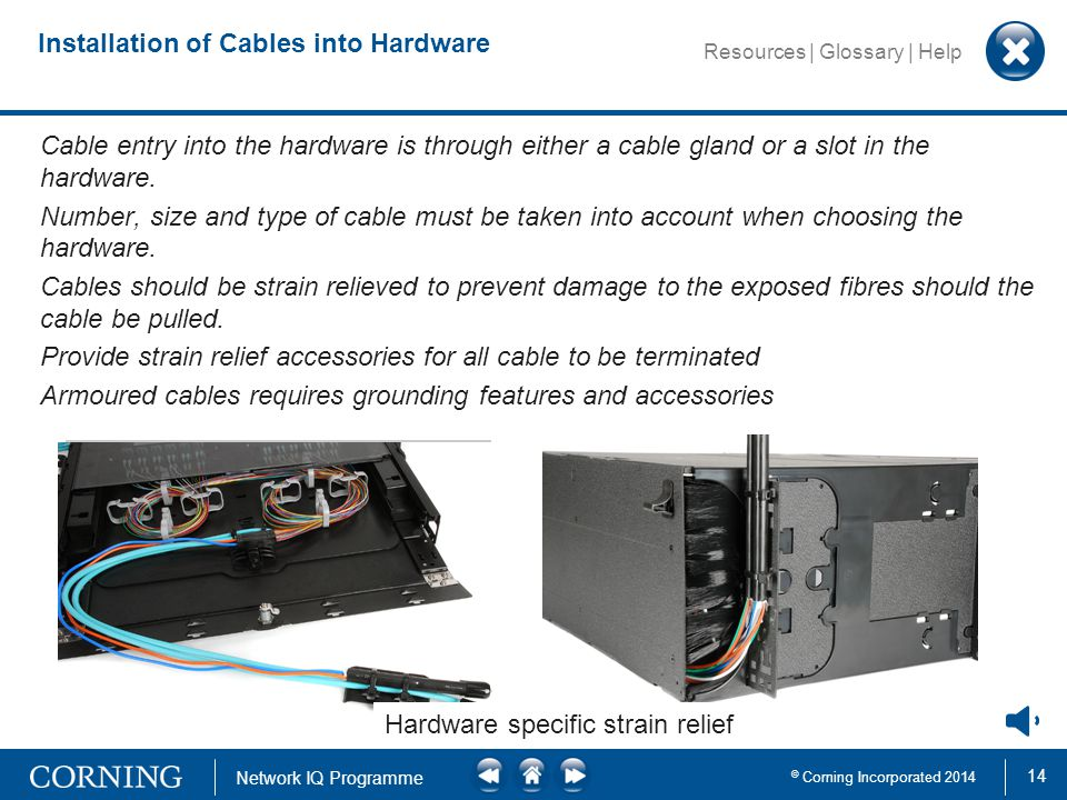 14 © Corning Incorporated 2014 Network IQ Programme Resources | Glossary | Help Cable entry using PG glandHardware specific strain relief Installation of Cables into Hardware Cable entry into the hardware is through either a cable gland or a slot in the hardware.