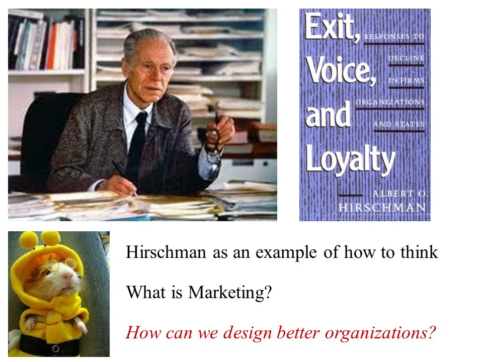 What is Marketing? How can we design better organizations? Hirschman as an example of how to think