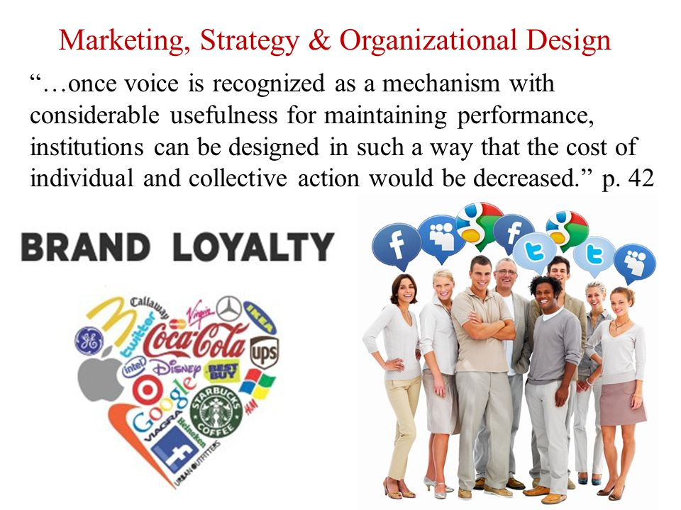 "Marketing, Strategy & Organizational Design ""…once voice is recognized as a mechanism with considerable usefulness for maintaining performance, instit"