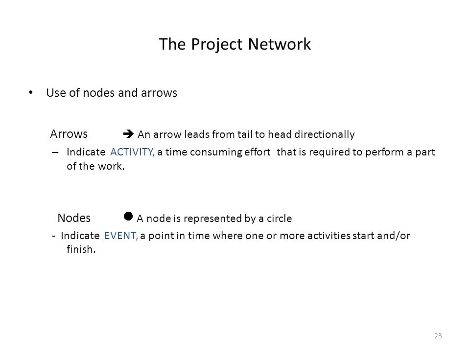 The Project Network Use of nodes and arrows Arrows  An arrow leads from tail to head directionally – Indicate ACTIVITY, a time consuming effort that is required to perform a part of the work.
