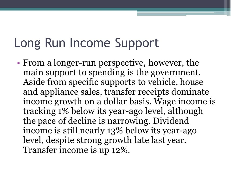 Long Run Income Support From a longer-run perspective, however, the main support to spending is the government.